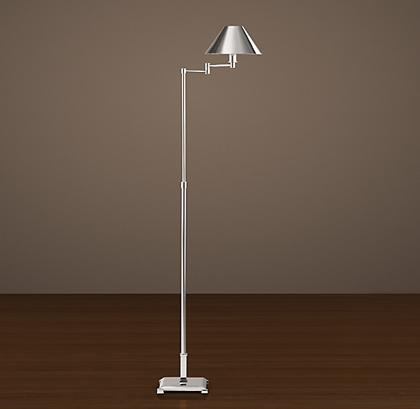 Petite Candlestick Swing-Arm Floor Lamp Polished Nickel with Metal Shade