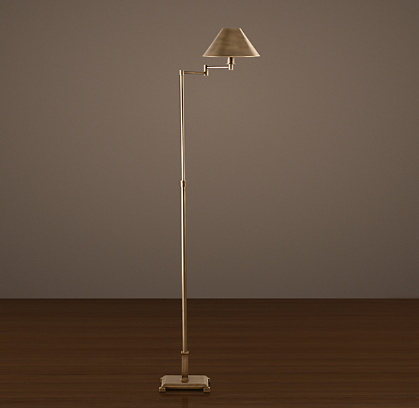 Petite Candlestick Swing-Arm Floor Lamp Vintage Brass with Metal Shade