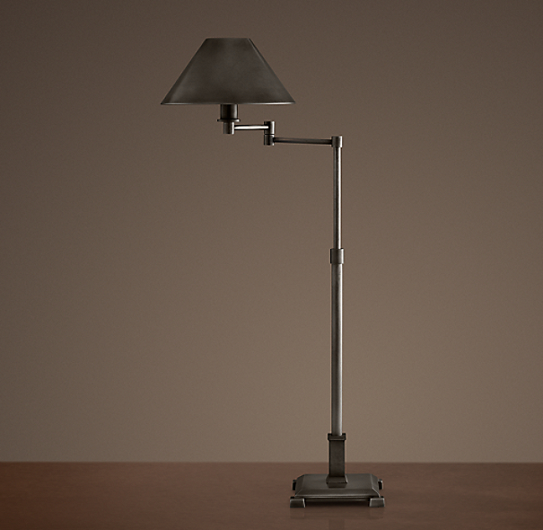 Petite Candlestick Swing-Arm Table Lamp Aged Steel with Metal Shade