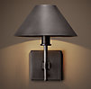 Petite Candlestick Sconce with Metal Shade Bronze