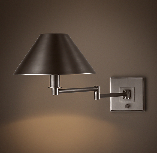 Petite Candlestick Swing-Arm Sconce Bronze with Metal Shade
