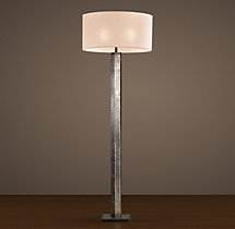 Hexagonal Column Floor Lamp Antique Silver