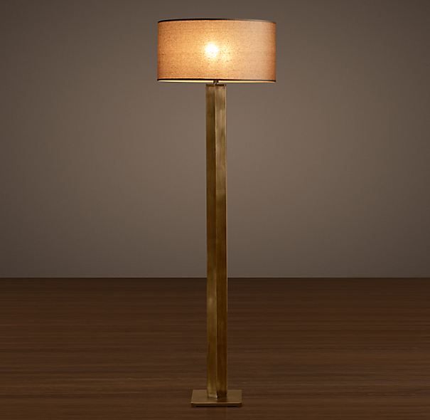 Hexagonal Column Floor Lamp Vintage Brass