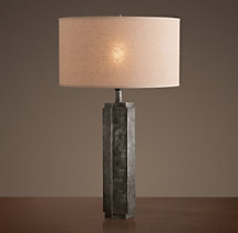 Hexagonal Column Table Lamp Antique Silver
