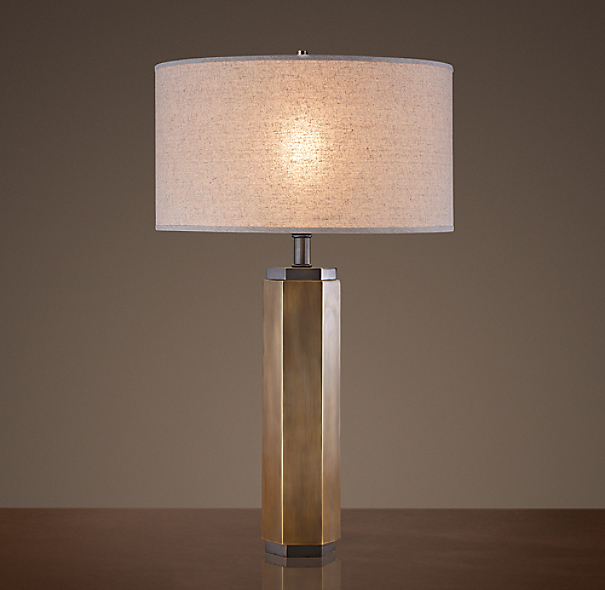 Hexagonal Column Table Lamp Vintage Brass