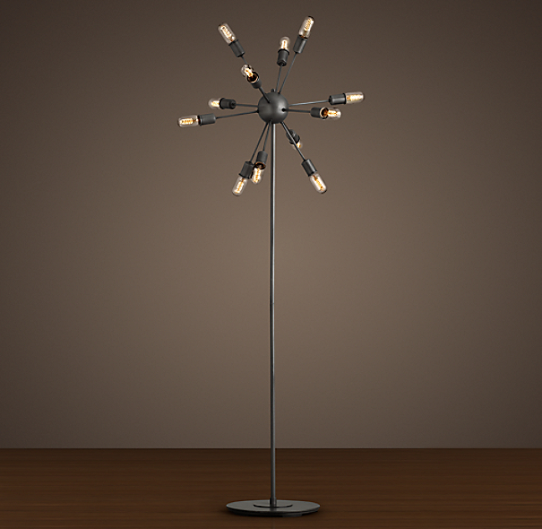 Sputnik Filament Floor Lamp Aged Steel