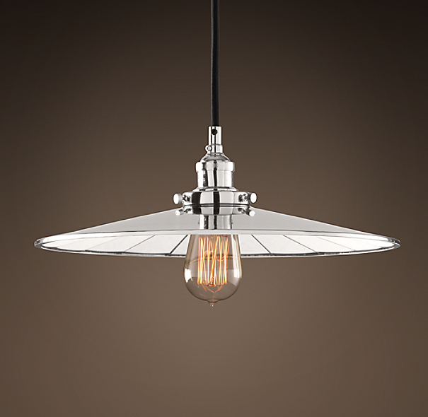 "Reflector Filament 14"" Pendant Polished Nickel"