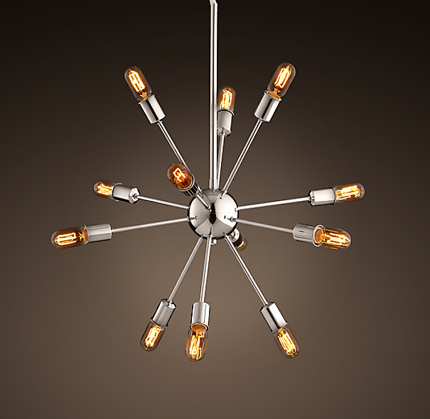 Sputnik Filament Chandelier Polished Nickel Medium