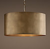 Antiqued Metal Drum Pendant Vintage Brass Large