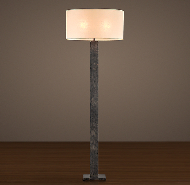 Square Column Floor Lamp Antique Silver