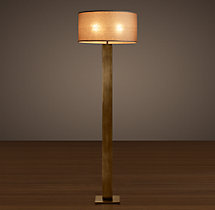 Square Column Floor Lamp Vintage Brass
