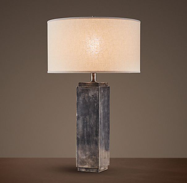 Square Column Table Lamp Antique Silver