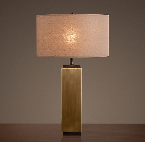 Square Column Table Lamp Vintage Brass
