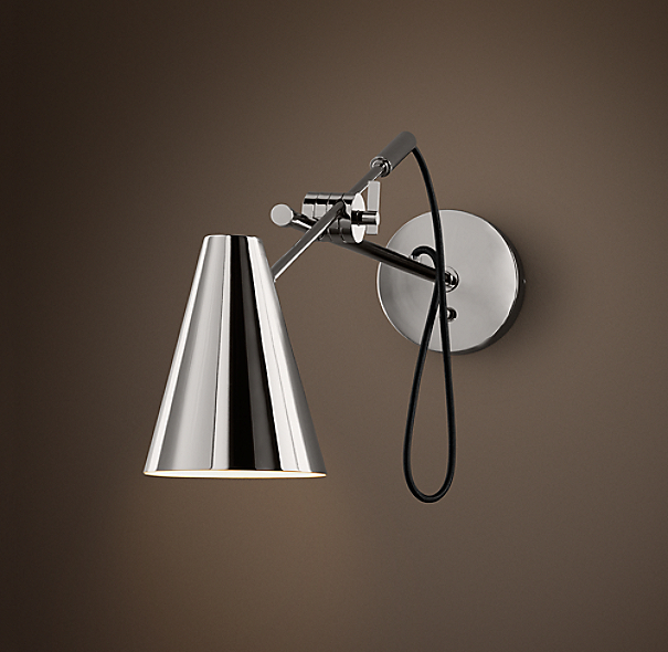 20th C. Torpedo Sconce Polished Nickel