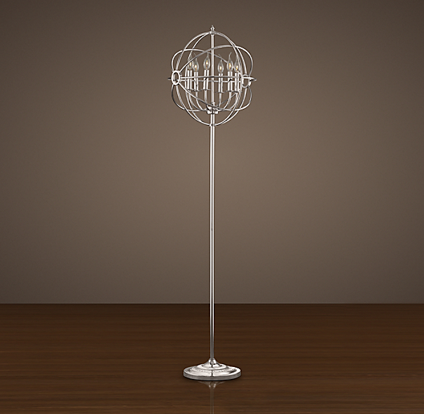 Foucault's Iron Orb Floor Lamp Polished Nickel
