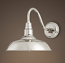 Vintage Barn Sconce Polished Nickel