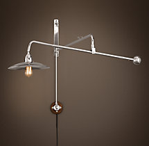 1940s Architect's Boom Medium Sconce Polished Nickel