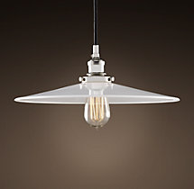 "Milk Glass Filament 14"" Pendant Polished Nickel"