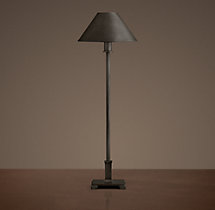 Petite Candlestick Table Lamp Aged Steel with Metal Shade