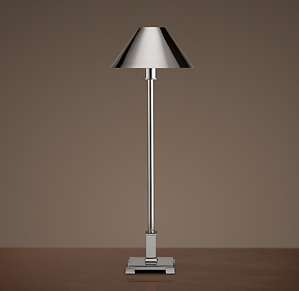 Petite Candlestick Table Lamp Polished Nickel with Metal Shade