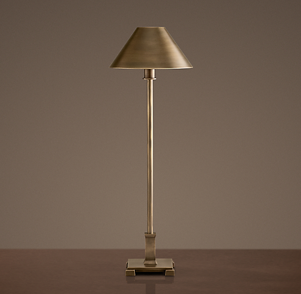 Petite Candlestick Table Lamp Vintage Brass with Metal Shade
