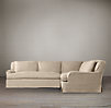 Belgian Classic Roll Arm Slipcovered Corner Sectional