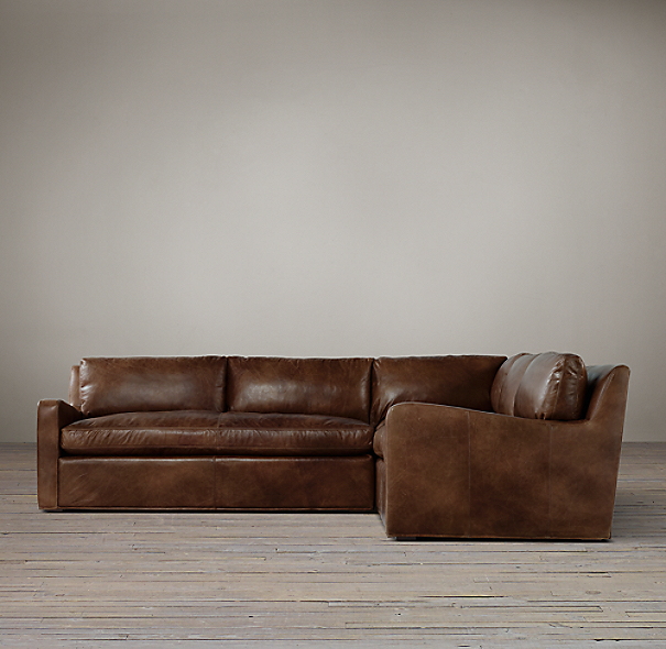Belgian Slope Arm Leather Corner Sectional