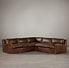 Belgian Slope Arm Leather Sectionals