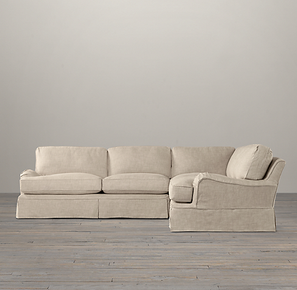 English Roll Arm Slipcovered Corner Sectional