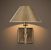 Petite Candlestick Sconce Vintage Brass with Metal Shade