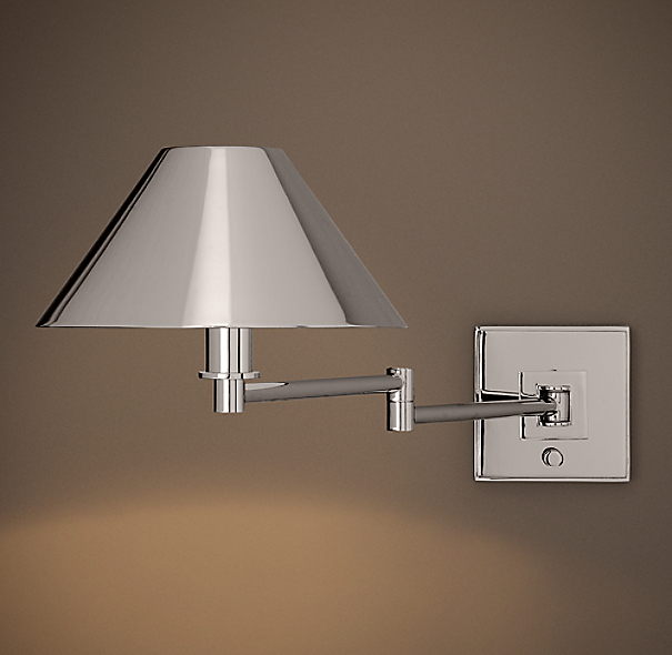 Petite Candlestick Swing-Arm Sconce with Metal Shade