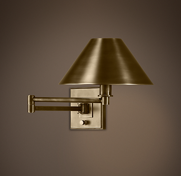 Petite Candlestick Swing-Arm Sconce Vintage Brass with Metal Shade