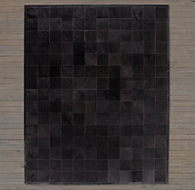 Argentine Cowhide Tile Rug Swatch - Black