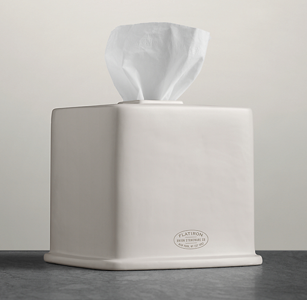 Flatiron Union Stoneware - Tissue Box - White