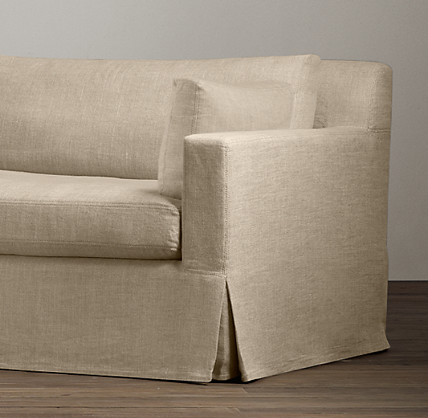 Belgian Track Arm Two Cushion Sofa Slipcover