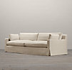 7' Belgian Track Arm Slipcovered Two Cushion Sofa
