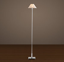Petite Candlestick Floor Lamp Polished Nickel with Linen Shade