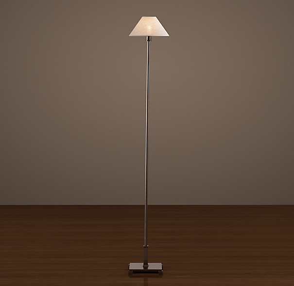 Petite Candlestick Floor Lamp Bronze with Linen Shade