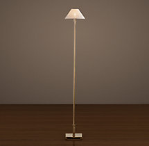 Petite Candlestick Floor Lamp Vintage Brass with Linen Shade