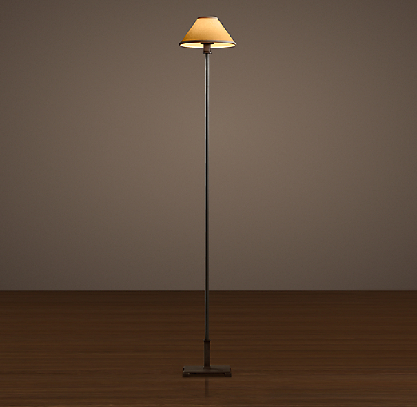 Petite Candlestick Floor Lamp Aged Steel with Linen Shade