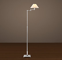 Petite Candlestick Swing-Arm Floor Lamp Polished Nickel with Linen Shade