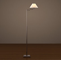 Petite Candlestick Swing-Arm Floor Lamp Bronze with Linen Shade