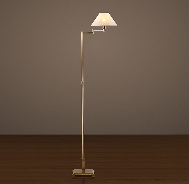 Petite Candlestick Swing-Arm Floor Lamp Vintage Brass with Linen Shade