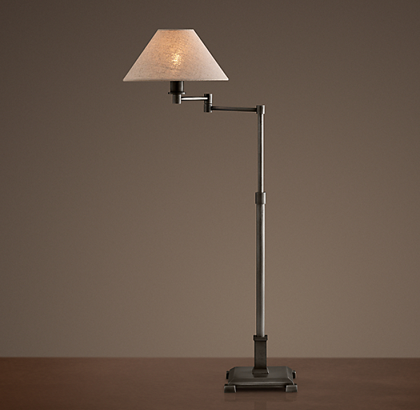 Petite Candlestick Swing-Arm Table Lamp Aged Steel with Linen Shade