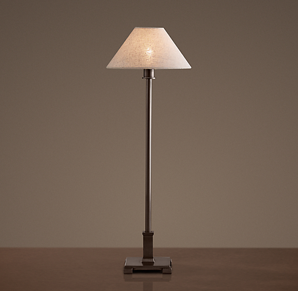 Petite Candlestick Table Lamp Bronze with Linen Shade