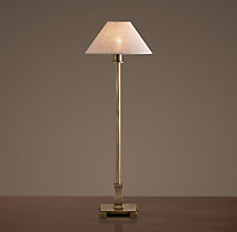 Petite Candlestick Table Lamp Vintage Brass with Linen Shade