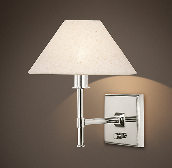 Petite Candlestick Sconce Polished Nickel with Linen Shade