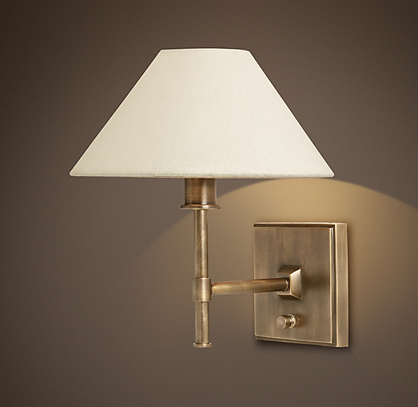 Petite Candlestick Sconce Vintage Brass with Linen Shade