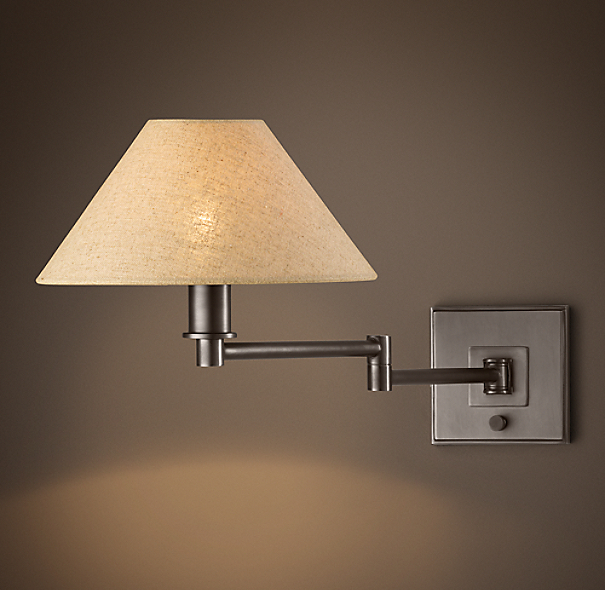 Petite Candlestick Swing-Arm Sconce with Linen Shade