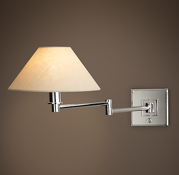 Petite Candlestick Swing Arm Sconce With Linen Shade